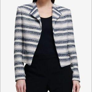 NEW DKNY tweed stripe seascape blazer